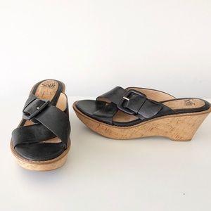New Softt Black Leather Wedge Slip On Sandals